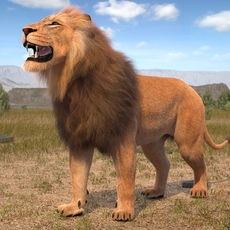 Lion The King hair and fur 3D Model