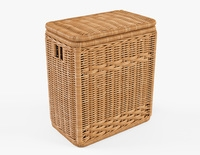 Wicker Laundry Hamper 08 Natural Color 3D Model