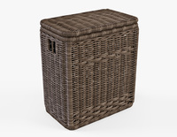 Wicker Laundry Hamper 08 Brown Color 3D Model