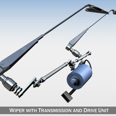 Wiper with transmission and drive unit 3D Model