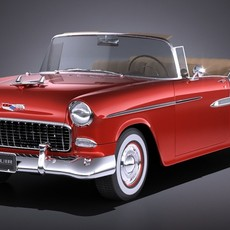 Chevrolet Bel Air 1955 Convertible VRAY 3D Model