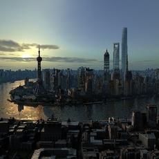 Shanghai City Sence 3D Model