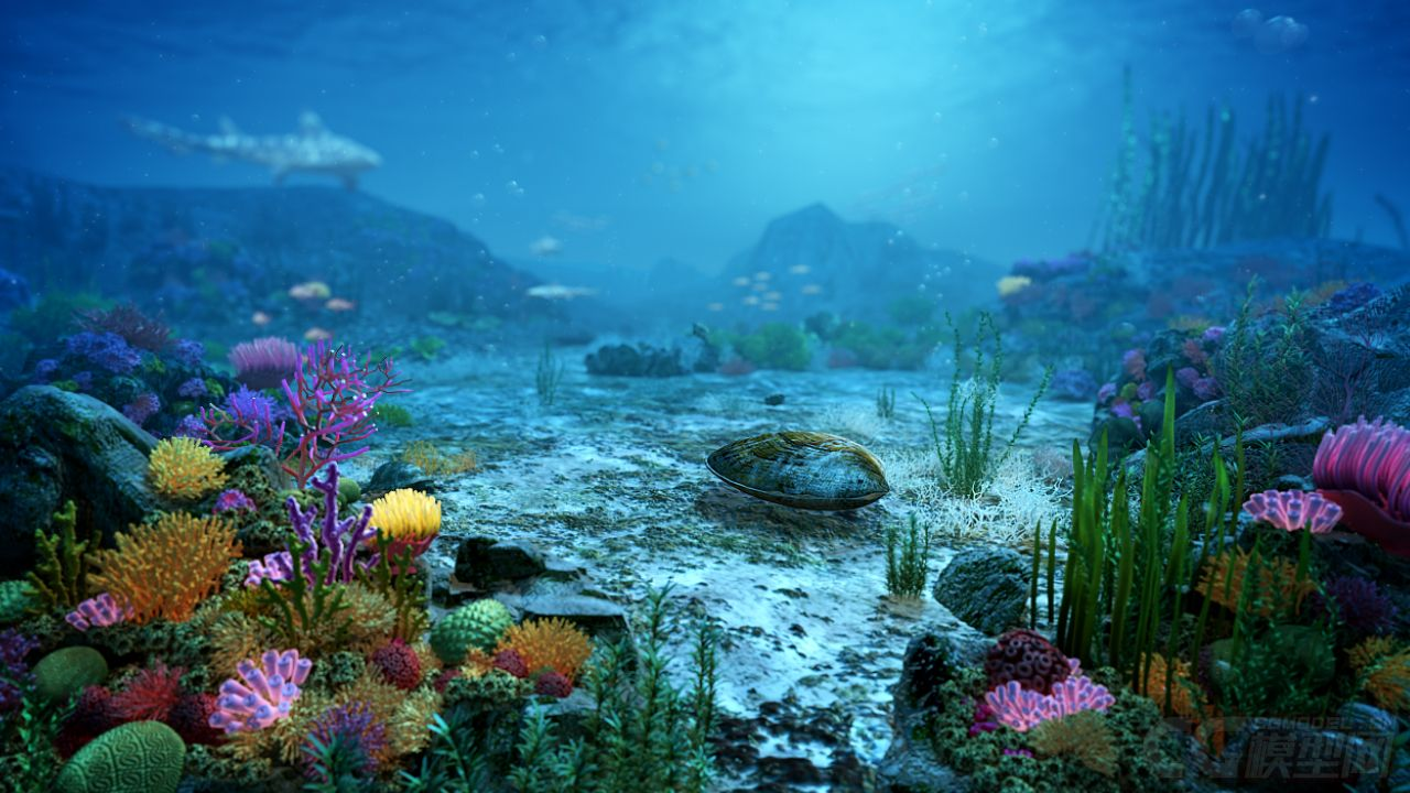 Underwater World Of Coral And Aquatic Plants Animated 3d Model