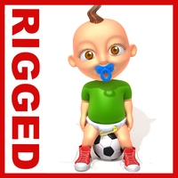 Football baby Cartoon Rigged 3D Model