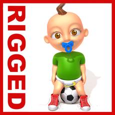 Football baby Cartoon Rigged 3D Model