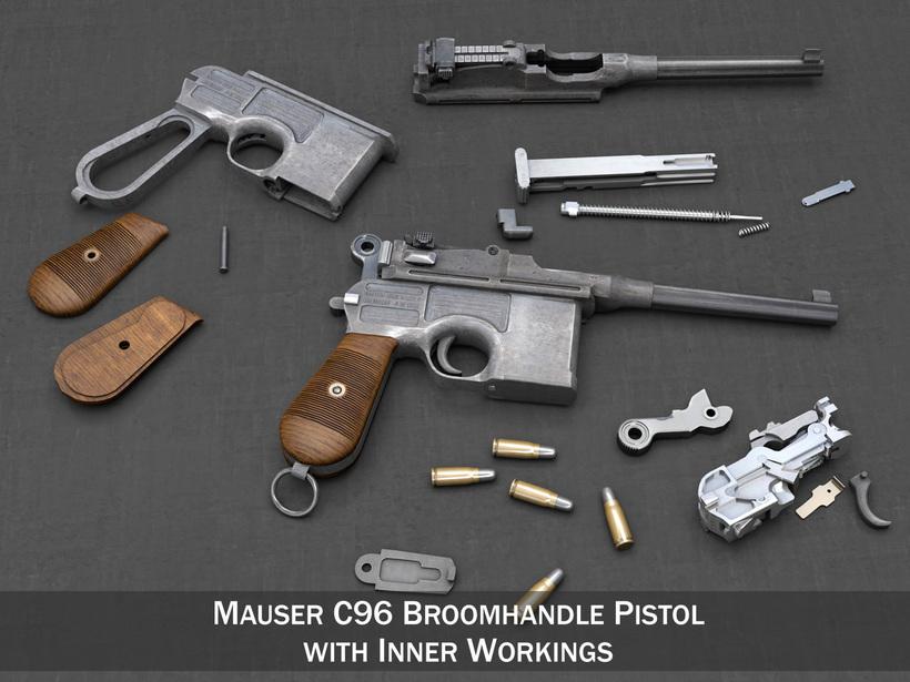Mauser C96 Broomhandle 3D Model