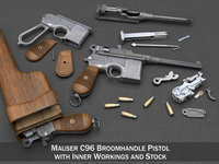 Mauser C96 Broomhandle with Stock 3D Model