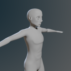 Low Poly Base Mesh Anime Male 3D Model