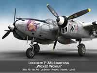 Lockheed P-38 Lightning - Wicked Woman 3D Model