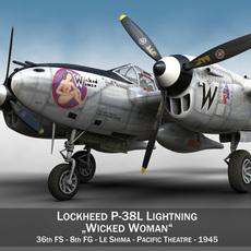 Lockheed P-38 Lightning - Wicked Woman 3D Model