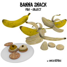 Banana Snack FBX OBJ 3D Model