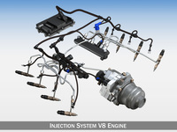 Injection System of a V8 engine 3D Model