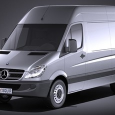 Mercedes Sprinter II van short high VRAY 3D Model
