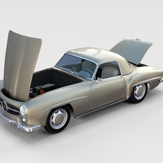 Full w interior Mercedes 190SL Hard Top rev 3D Model