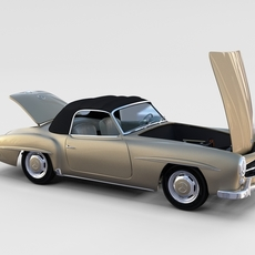 Full w interior Mercedes 190SL Soft Top rev 3D Model