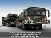 Faun STL-56 with 52 ton Semi-Trailer and a Leopard 2A4 3D Model