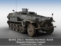 SD.KFZ 251/1 Ausf.B - Halftruck - 7PD 3D Model
