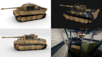 Fully built Panzer Tiger Tank Late 1944 v1 (interior and engine) 3D Model