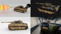 Fully built Panzer Tiger Tank Late 1944 v1 Firing (interior and engine) 3D Model