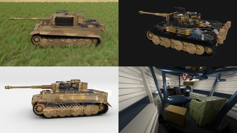 Fully built Panzer Tiger Tank Late 1944 HDRI v1 (interior and engine) 3D Model