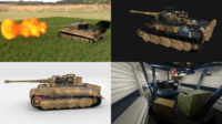 Fully built Panzer Tiger Tank Late 1944 v1 Firing HDRI (interior and engine) 3D Model