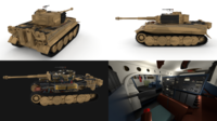 Panzer Tiger Tank Late 1944 v1 with interior 3D Model