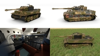 Fully built Panzer Tiger Tank Late 1944 HDRI v2 (interior and engine) 3D Model