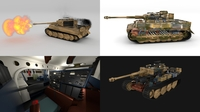 Fully built Panzer Tiger Tank Late 1944 v2 Firing (interior and engine) 3D Model