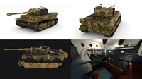 Panzer Tiger Tank Late 1944 v2 with interior 3D Model