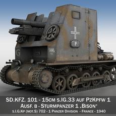 Sturmpanzer1 - Bison - 1 PzDiv 3D Model