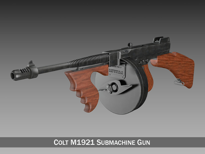 Colt Model1921 Thompson Submachine Gun 3D Model