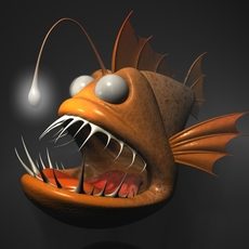 Cartoon Anglerfish RIGGED 3D Model
