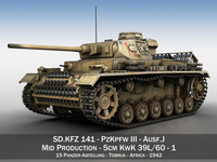 PzKpfw III - Panzerkampfwagen 3 - Ausf.J - DAK - 1 3D Model