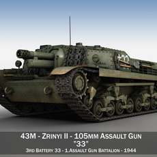 43M Zrinyi II - Hungarian Assault Gun - 3rd Battery 33 3D Model