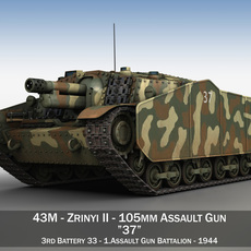 43M Zrinyi II - Hungarian Assault Gun - 3rd Battery 37 3D Model