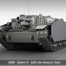 43M Zrinyi II - Hungarian Assault Gun 3D Model