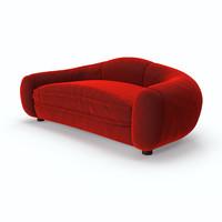 red velvet sofa 3D Model