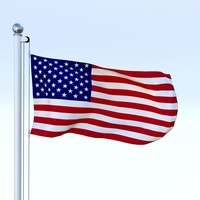 Animated US Flag 3D Model