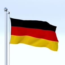Animated German Flag 3D Model