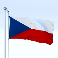 Animated Czech Republic Flag 3D Model