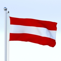 Animated Flag Austria 3D Model