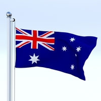 Animated Australian Flag 3D Model