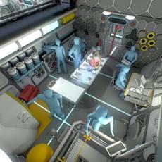 Sci-Fi Research Facility Interior 3D Model