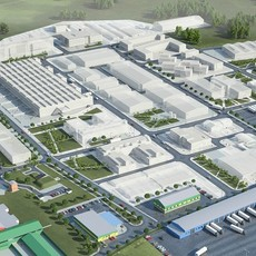 Industrial factory warehouse complex 3D Model