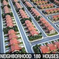 Heighborhood 180 Houses 3D Model