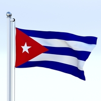 Animated Cuba Flag 3D Model