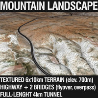 Mountain Terrain with Highway and Tunnel 3D Model
