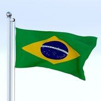 Animated Brazil Flag 3D Model