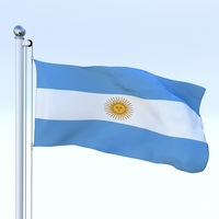 Animated Argentina Flag 3D Model