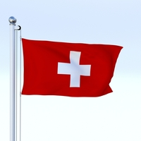 Animated Switzerland Flag 3D Model